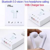 ingrosso auricolari della mora per la vendita-I7S TWS Bluetooth 5.0 visione auricolari wireless auricolari Twins Cuffie con scatola di ricarica Dock per Android Samsung Sony vendita calda