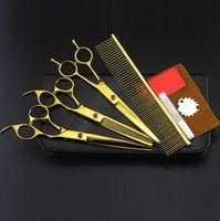 kits de tijeras profesionales al por mayor-4 kits Profesional de oro para mascotas 7 pulgadas tijeras que cortan tijeras para el cabello set de peluquería canina adelgazamiento peluquero peluquería tijeras