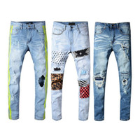 mens beunruhigte zerstörte jeans großhandel-Mens Distressed Ripped Jeans Designer Marke Schwarze Jeans Skinny Ripped Destroyed Stretch Slim Fit Hop Hop Hose JS34