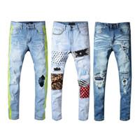 jeans destrozados desgastados para hombre al por mayor-Vaqueros rasgados desgastados para hombre Marca de diseñador Vaqueros negros Flacos rasgados Destruidos Pantalones elásticos ajustados Hop Hop JS34