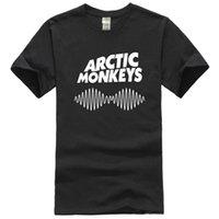 monos de roca al por mayor-ARCTIC MONKEYS AM Rock Band UK Logotipo de Vlag heren Wit Zwart Camiseta maat S Tot 2XL Camiseta Mannen Laagste Prijs 100% Katoen