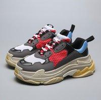 zapatos de ascensor casual de los hombres al por mayor-2019 SizeTriple S Shoes Hombre Mujer Zapatilla de deporte Colores mezclados de alta calidad Tacón grueso Grandpa Dad Trainer Triple-S Zapatos casuales con zapatos con elevador