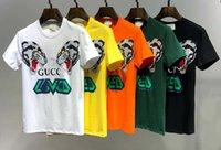 camisa polca branca camisa homens venda por atacado-T-shirt dos homens novos de alta qualidade carta designer preto branco vermelho amarelo dos homens moda casual wear designer tigre cabeça T-shirt top manga curta
