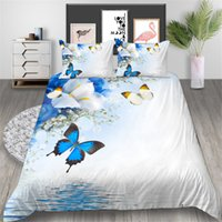 Wholesale king size bedding sets butterflies resale online - King Size Bedding Set D Printed Butterfly Simple Duvet Cover Queen Elegant White Home Deco Double Single Bed Cover with Pillowcase