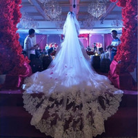 5 Meters Full Edge with Lace Bling Sequins Two Layers Long Wedding Veil with Comb White Ivory Appliques Bridal Veil