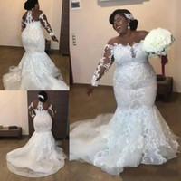 vestido de malla de novia al por mayor-Sirena Tallas grandes Vestidos de novia 2019 África Mangas largas Encaje Malla superior Apliques Con cuentas Corte Tren Vestidos de novia Vestidos de novia