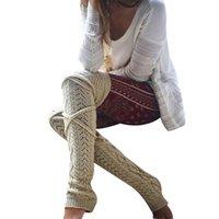 meias de joelho cinza venda por atacado-Mulheres Casuais Sólida Grosso Inverno Quente Meias Na Altura Do Joelho Meia Vinho Tinto Cinza Claro Cinza Escuro Bege
