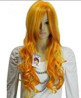 perucas surpreendentes venda por atacado-PERDA LL002589 Mulheres Surpreendentes Mistura Amarela Ondulado Peruca Sintética Diária Peruca Cheia de Cabelo Longo