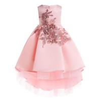 bir pleat bebek kıyafeti toptan satış-Yeni Kızlar Nakış Kuyrukları Akşam Prenses Elbiseler Çocuklar Parti Elbise Bebek Kız Zarif Giyim Infantis Payetli Elbise için 100-150 cm