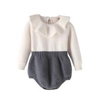 ingrosso babys jumpsuits-Pagliaccetto lavorato a maglia patchwork lavorato a maglia morbido autunno inverno caldo carino cotone Babys tute 6 p / l