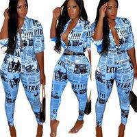 брюки рубашки носить женщин оптовых-Лето Ins Женская одежда газета напечатала рубашка карандаш брюки костюмы 3/4 рукава нагрудные Neck Top С Кнопка Street Wear S-XXXL C71109