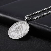 Wholesale long chain necklace for men for sale - Group buy Skyrim Viking Irish Knot Valknut Necklace Stainless Steel Gold Statement Long Chain Pagan Amulet Necklaces Jewelry Gift for Men