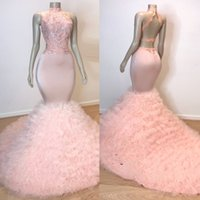 ingrosso immagini top per donne-2019 Chic Fasion Halter Light Pink Prom Dresses Collo alto Backless Lace Top Handmade Flower Ruffle Women's Evening Party Abiti Immagine reale