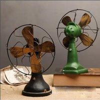 ingrosso arredamento nostalgico di casa-Retro Nostalgic Fan Ornamenti Home Decoration Accessori Vintage Fan Miniature Europa Style Figurine Home Decor Regali Ornamento
