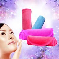 renkli yüz havlusu toptan satış-Makyaj Temizleyici Soyunma Havlu Saf Renk Rahat Berrak Su Soyunma Havlu Fit Temizleme Cilt Yüz Silgi Bez Dayanıklı 4 5xcb E1