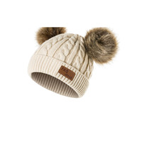 Wholesale cream knitted baby hat for sale - Group buy Double ball children s hat The raccoon hair bulb baby baby knitted cap Pink hat Hot style children s hat Pure manual weaving pure xie mei