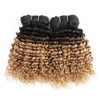 Wholesale dye curly brazilian hair for sale - Group buy Colored Brazilian Hair Bundles g Deep Curly T1B Blonde Ombre Hair weave Bundles Short Bob Style Human Hair Weaves
