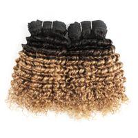 ingrosso t1b 27 capelli brasiliani-Fasci di capelli brasiliani colorati 100g Deep Curly T1B / 27 Ombre biondi Capelli tessere Bundles Short Bob Style Capelli umani Tesse