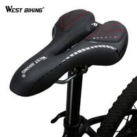 jel bisiklet yastıkları toptan satış-West biking bisiklet eyer rahat yastık mtb bisiklet aksesuarları nefes yumuşak koltuk darbeye silika jel pu yastık
