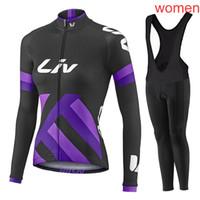 bisiklet uzun kadınlar kurar toptan satış-2019 sıcak satış Ekibi liv kadınlar bisiklet jersey seti MTB bisiklet Gömlek önlüğü / pantolon Suit nefes uzun kollu yarış bisiklet giyim Y032706