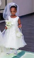 vestido de princesa de longitud de té negro al por mayor-Vestido de la muchacha de flor de la princesa del té de la princesa para las bodas Granos Apliques Joya Little Black Girl Fiesta de cumpleaños Vestido de la muchacha Vestido de fiesta de cumpleaños