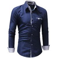 mavi gömlek beyaz polka noktalar toptan satış-3XL erkek Sonbahar Rahat Resmi Polka Dot Slim Fit Uzun Kollu Elbise Gömlek erkek yıldız baskı modis erkek gömlek beyaz mavi Üst