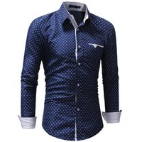 camisa azul lunares blancos al por mayor-3XL otoño de los hombres formales polka Dot Slim Fit camisa de vestir de manga larga masculina impresión de la estrella modis camisas para hombre blanco azul Top