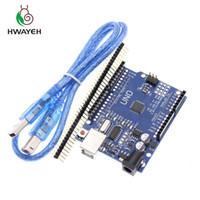 junta de desarrollo usb al por mayor-Junta HWAYEH UNO alta calidad R3 CH340G + MEGA328P viruta 16Mhz para Arduino UNO R3 de Desarrollo + CABLE USB