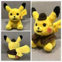 ems oyuncakları toptan satış-En çok satan Dedektif Pikachu Peluş bebekler 30 cm Pikachu peluş oyuncaklar karikatür Doldurulmuş hayvanlar oyuncaklar yumuşak en iyi Hediyeler EMS nakliye
