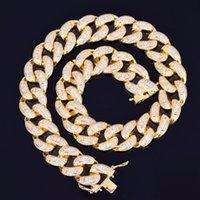 gold kettenglied choker halskette großhandel-22mm baguette zirkon miami kubanischen link halskette choker vereist herren hip hop street rock schmuck gold silber kette 16