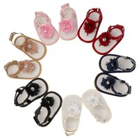 baby sandalen großhandel-Baby-erste Wanderer-Kleinkind beschuht 6 Farben-Kind-Baby-weiche Spitze-Blumen-reizende Sandelholzbaby-Entwerferschuhe DHL FJ260