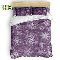 ingrosso coperte di piumini viola-SHOWHOME Copripiumino Purple Christmas Ice Flower Set copripiumino Set 4 pezzi per letti