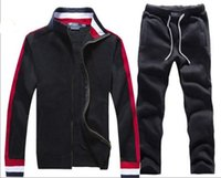 büyük erkekler kışlık ceketler toptan satış-Erkek Eşofman Kışlık Koşu Spor Kıyafetleri Moda Koşu Spor Kıyafetleri Hoodies Eşofman Üstü Mont Eşofman Üstü Büyük At Oyun Ceket ve Pantolonları