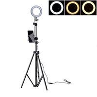 регулируемые подставки для фотоаппаратов оптовых-Регулируемая 500/1600 / 2100 мм стенд фотографии LED Selfie Light-кольцо освещения Затемняемый заполнить свет лампы ж / USB для камеры видео