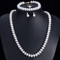 lila perlensets großhandel-Gute Qualität Echte Natürliche Süßwasserperlen Schmuck Sets Für Frauen 4 Stücke Gold Farbe Weiß Rosa Lila Hochzeit Halskette Sets
