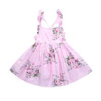 roupas para crianças venda por atacado-Verão Bonito Do Bebê Meninas Vestidos Azul Rosa 2 Cores Floral Vestido Da Menina Verão Quente Sem Encosto Crianças Casual Beaches Roupa Da Menina