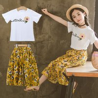 Wholesale large chiffon pants for sale - Group buy Middle Large Girls clothes White T shirt Tops Chiffon Loose straight leg Floral Pants Set Summer Sweet Years