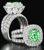 lüks mücevherat takı setleri toptan satış-Toptan-Çarpıcı lüks takı Çift Yüzük 925 Gümüş Armut Kesim Safir Zümrüt Çoklu Taşlar Düğün Gelin Yüzük Seti