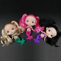 Wholesale rubber dolls free for sale - Group buy 6 quot cm Cute Pink Blonde Black Hair Two Ponytails Mini Mermaid Dolls Girls Toys Birthday Gifts
