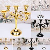 ingrosso stand di candelabri di nozze-Nuovi portacandele in metallo per candelabri a 5 bracci con 3 bracci e stoviglie Candela cena a candelabri con decoro natalizio Candeliere natalizio WX9-1225