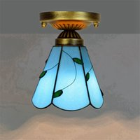 Wholesale inch meters for sale - Group buy 6 inch tiffany style stained glass ceiling lights hotels bars restaurants small ceiling lamp blue leaf art deco glass light DS063