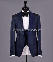 ingrosso cravatta di maglia blu satinata-Nuovo arrivo Groomsmen Scialle Risvolto in raso Smoking dello sposo Blu scuro Abiti da uomo Matrimonio Best Man Blazer (Jacket + Pants + Tie + Vest) C312