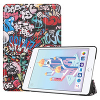 ipad мини цветок кожаный чехол оптовых-Для iPad mini 4 mini 5 Smart Cover Case Магнитный Trifold Вращающиеся Цветы Печатный кожаный чехол Стенд