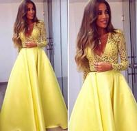 amarelo abaya venda por atacado-Elegante Amarelo Dubai Abaya A-Line Mangas Compridas Vestidos de Noite V neck Lace Vestido Desgaste da Noite Zuhair Murad Prom Party Vestidos