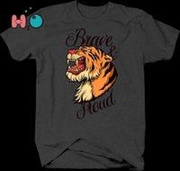 ingrosso zanne animali-Tshirt coraggiosa e orgogliosa di Tiger with Fangs Inspirational Animals