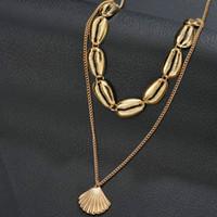 gold seashell charme großhandel-Charms Luxus Multilayer Gold Muschel Halskette lange Kette Strand Boho Schmuck Shell Kette Halskette Mädchen Geschenk