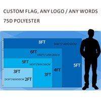 özel dijital baskılar toptan satış-Özel Dijital Baskı 2x3ft / 3x5ft / 4x6ft / 5x8ft Herhangi Bir Logo Ücretsiz Drop Shipping 75D Polyester Açık Spor Parade Ev Dekorasyon Bayrakla ...