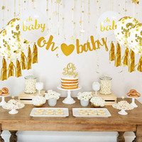 Wholesale baby boy shower cupcake toppers resale online - Baby Shower Decorations Neutral Decor for boy girl Gold Banner OH BABY PC Balloons Confetti Ribbon Cupcake Topper Kit SH190913