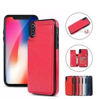 Wholesale note edge wallet cases online - Premium Leather Back Cover Wallet Cases For iPhone XR XS MAX X Samsung S7 Edge S8 S9 Plus Note