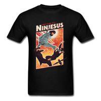 camisa de algodón negro de kung fu al por mayor-Ninjesus Funny Character T-shirt Hombres 3D Tops Camisetas Jesús Negro Camiseta Verano Algodón Ropa Kung Fu Camiseta